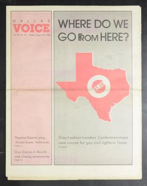 Primary view of object titled 'Dallas Voice (Dallas, Tex.), Vol. 3, No. 16, Ed. 1 Friday, August 22, 1986'.