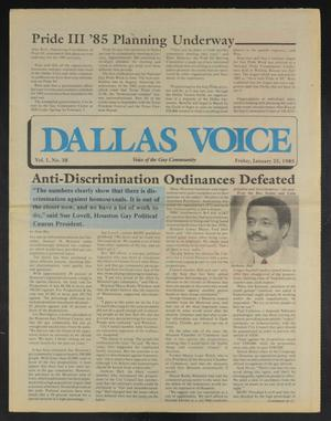 Primary view of object titled 'Dallas Voice (Dallas, Tex.), Vol. 1, No. 38, Ed. 1 Friday, January 25, 1985'.