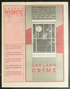 Primary view of object titled 'Dallas Voice (Dallas, Tex.), Vol. 3, No. 22, Ed. 1 Friday, October 3, 1986'.