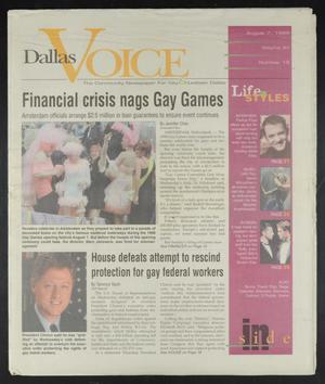Primary view of object titled 'Dallas Voice (Dallas, Tex.), Vol. 15, No. 15, Ed. 1 Friday, August 7, 1998'.
