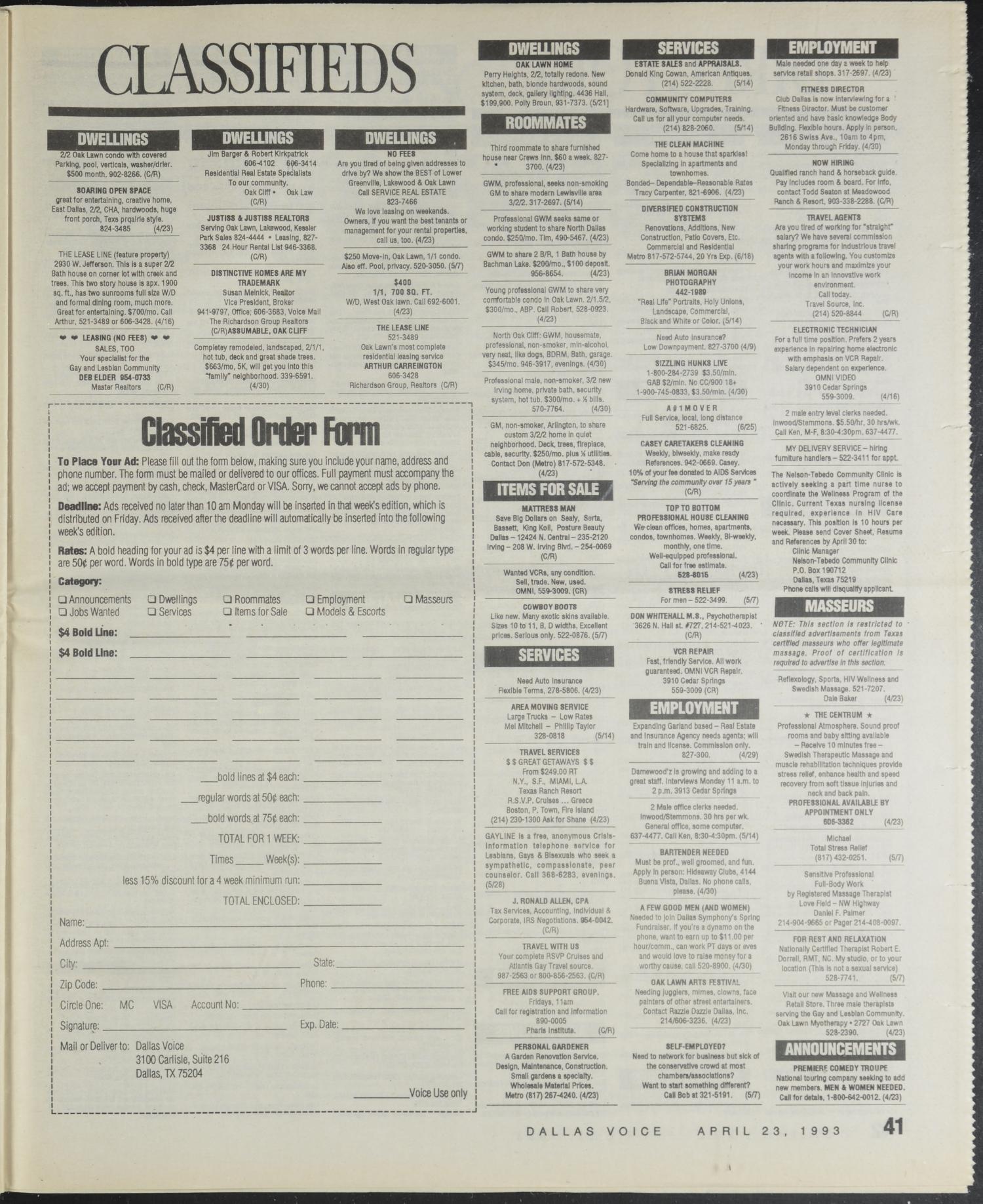 Dallas Voice (Dallas, Tex.), Vol. 9, No. 52, Ed. 1 Friday, April 23 ...
