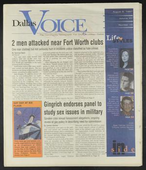 Primary view of object titled 'Dallas Voice (Dallas, Tex.), Vol. 14, No. 15, Ed. 1 Friday, August 8, 1997'.