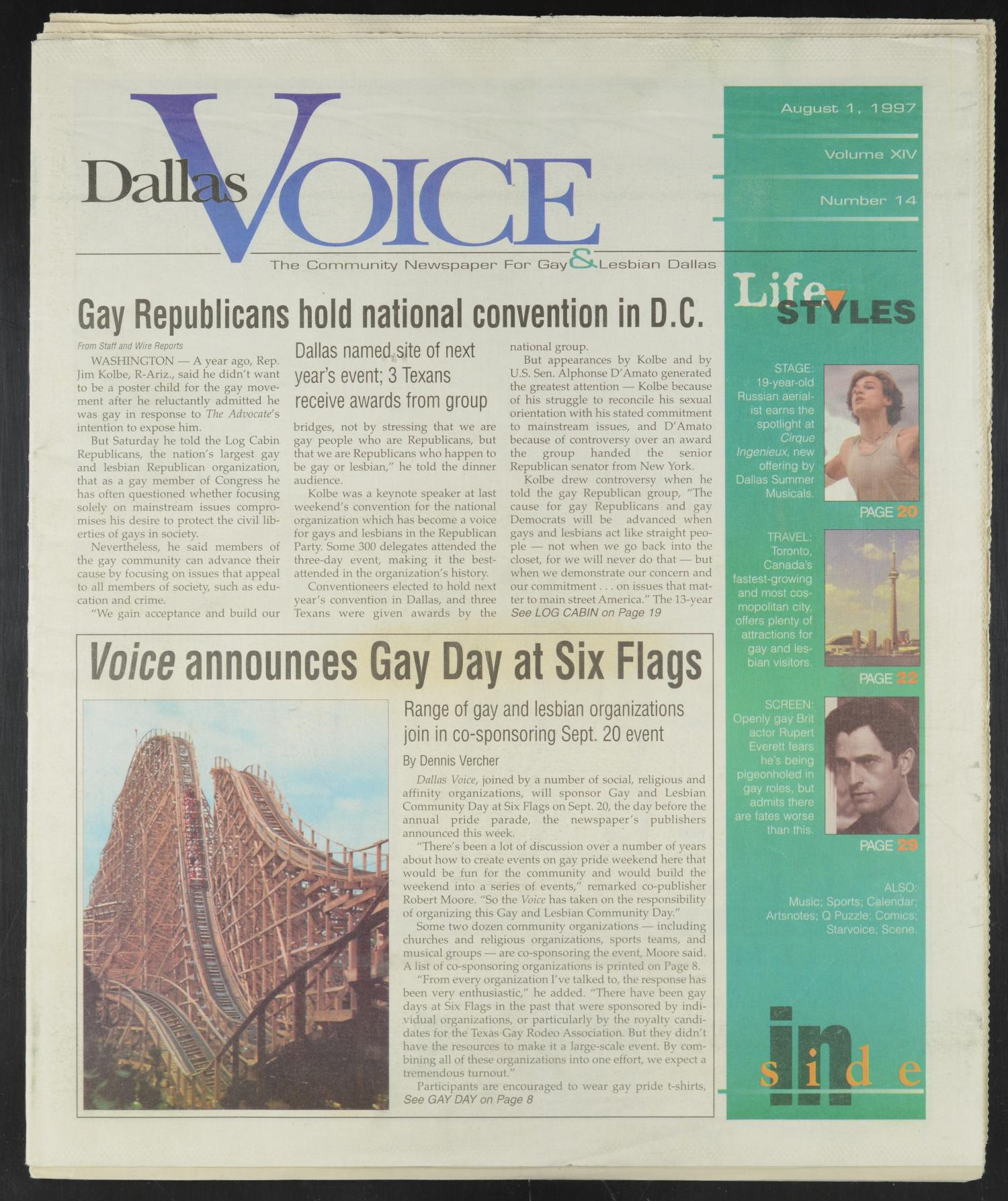 Dallas Voice (Dallas, Tex.), Vol. 14, No. 14, Ed. 1 Friday, August 1, 1997                                                                                                      [Sequence #]: 1 of 60