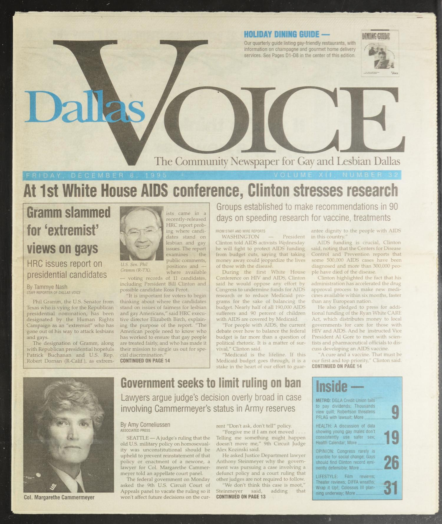 Dallas Voice (Dallas, Tex.), Vol. 12, No. 32, Ed. 1 Friday, December 8, 1995                                                                                                      [Sequence #]: 1 of 72