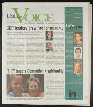 Primary view of object titled 'Dallas Voice (Dallas, Tex.), Vol. 15, No. 8, Ed. 1 Friday, June 19, 1998'.
