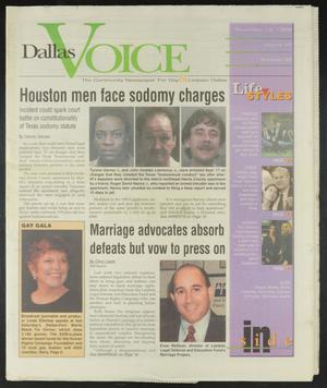 Primary view of object titled 'Dallas Voice (Dallas, Tex.), Vol. 15, No. 29, Ed. 1 Friday, November 13, 1998'.