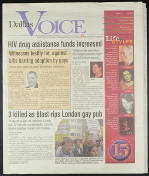 Primary view of object titled 'Dallas Voice (Dallas, Tex.), Vol. 16, No. 1, Ed. 1 Friday, May 7, 1999'.