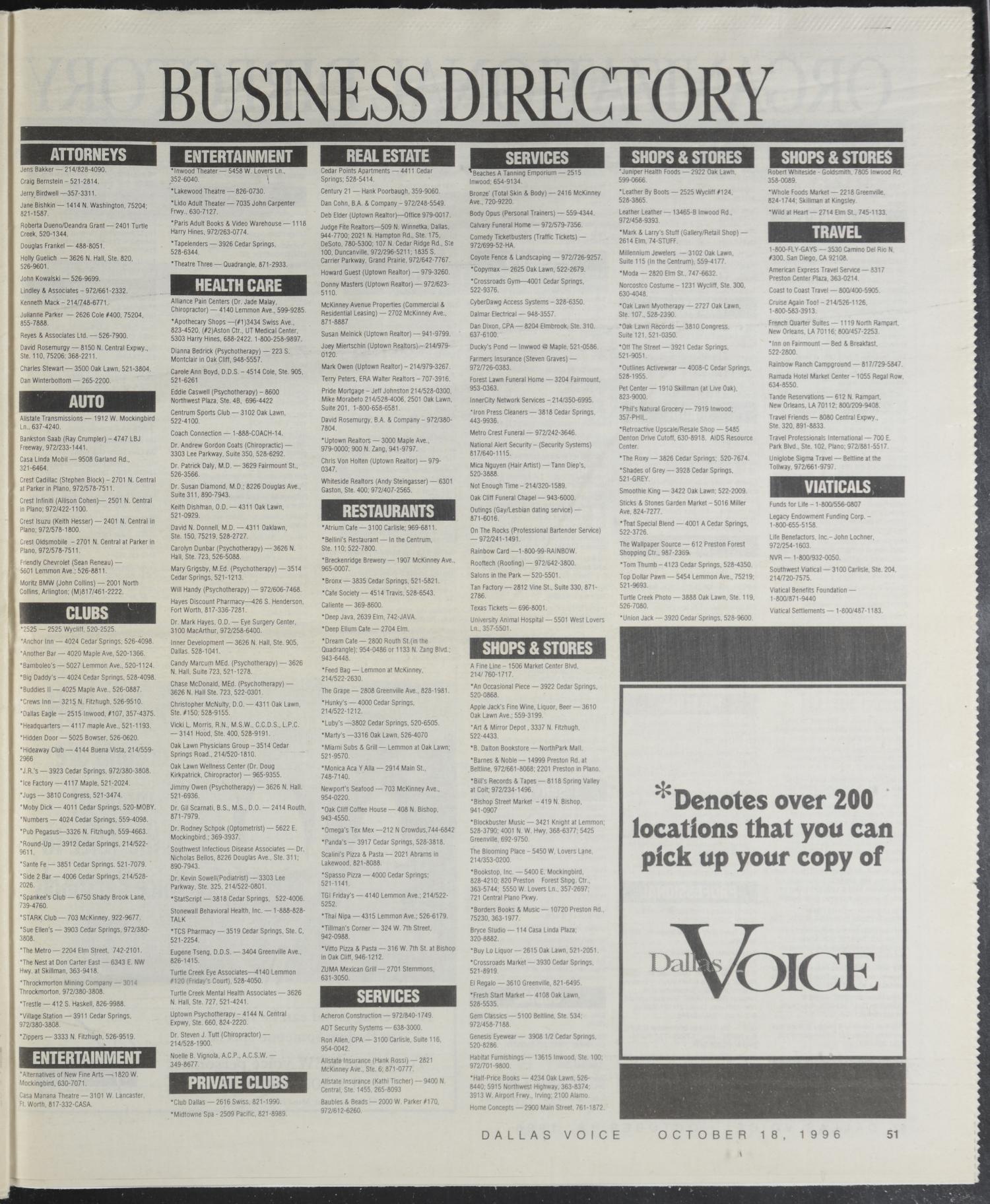 Dallas Voice Dallas Tex Vol 13 No 25 Ed 1 Friday October