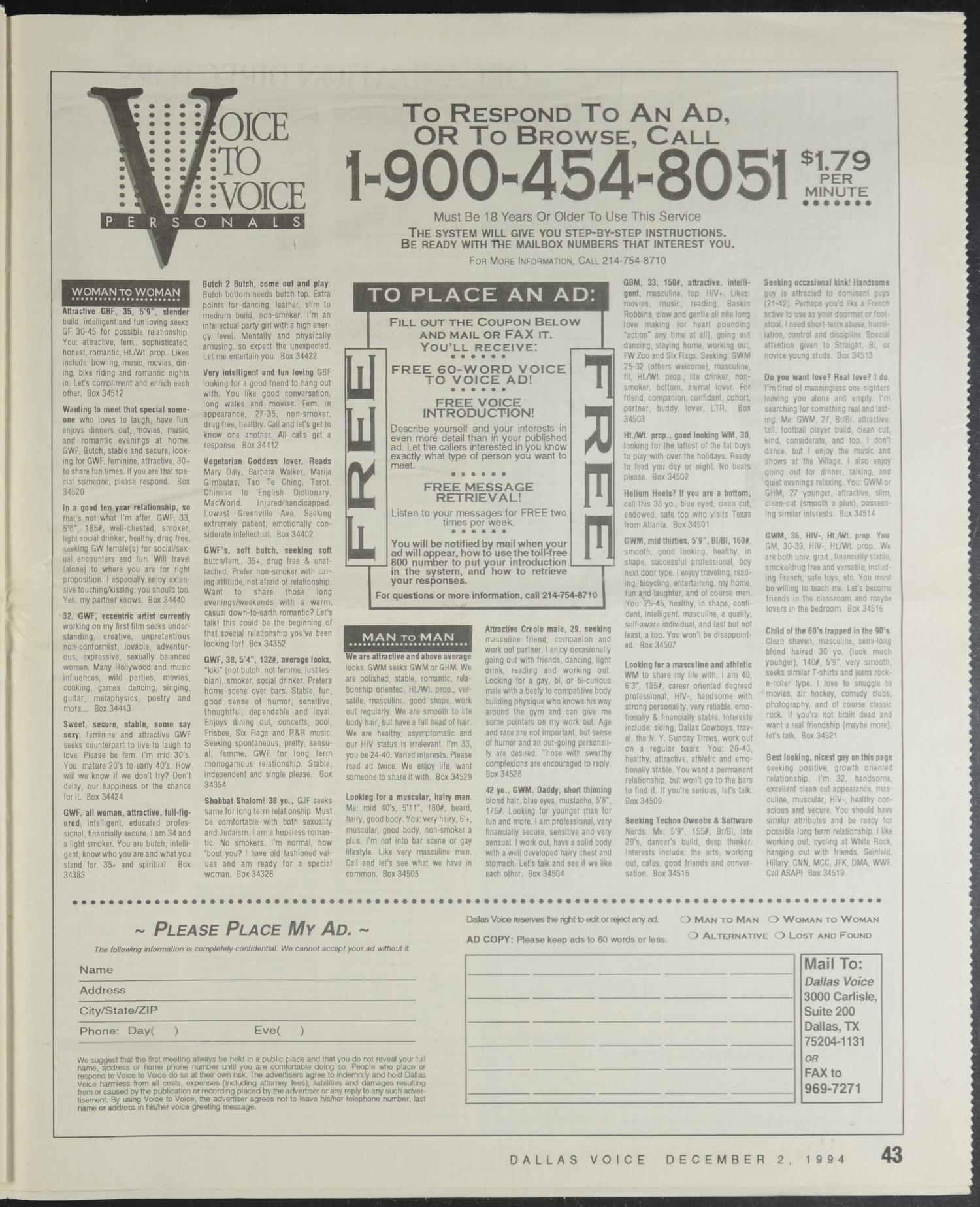 Dallas Voice (Dallas, Tex ), Vol  11, No  30, Ed  1 Friday