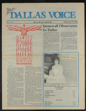 Primary view of object titled 'Dallas Voice (Dallas, Tex.), Vol. 1, No. 7, Ed. 1 Friday, June 22, 1984'.