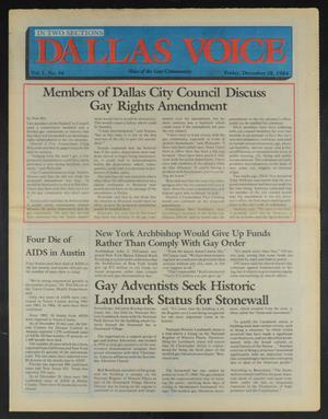 Primary view of object titled 'Dallas Voice (Dallas, Tex.), Vol. 1, No. 34, Ed. 1 Friday, December 28, 1984'.