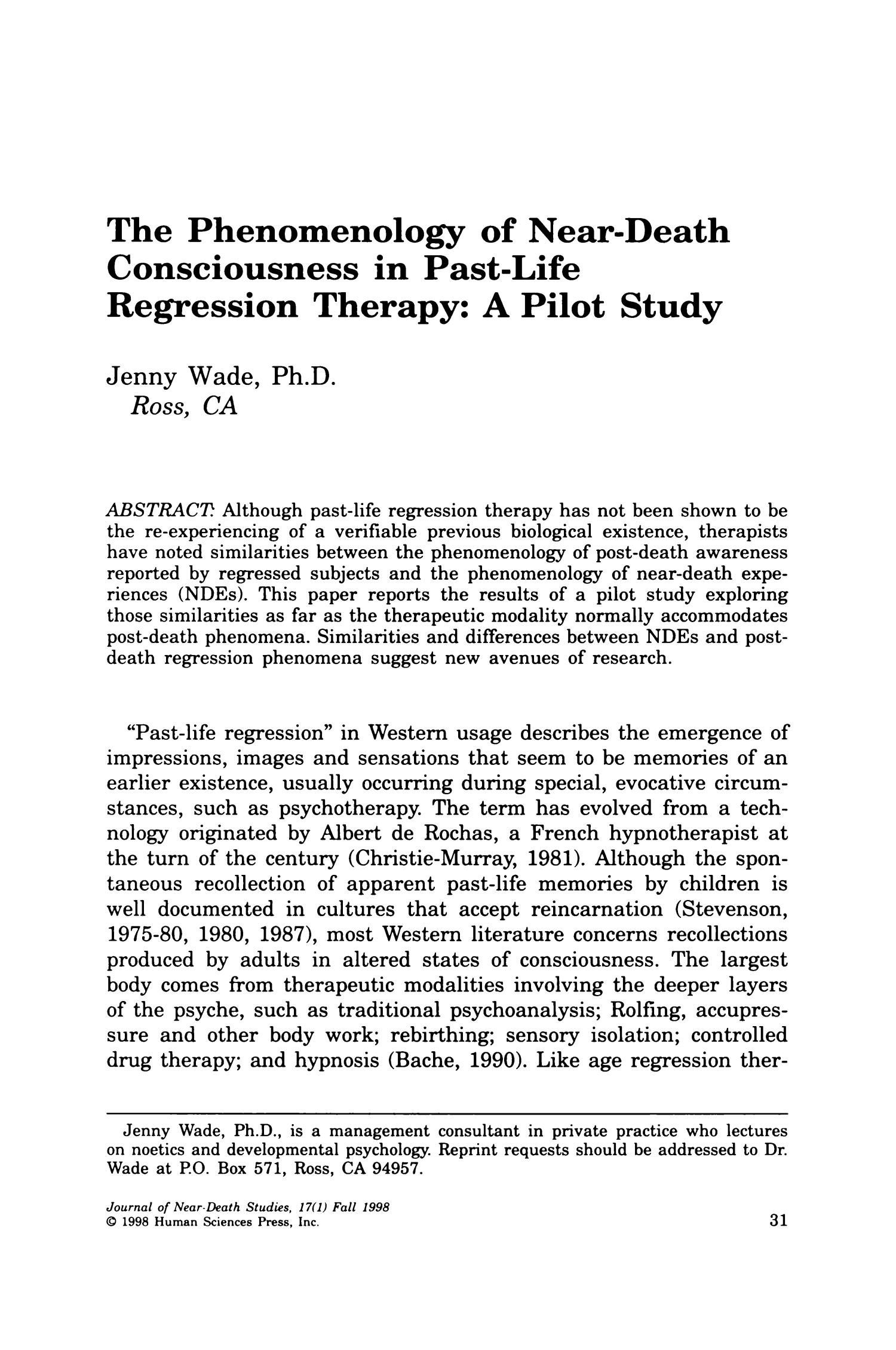 The Phenomenology of Near-Death Consciousness in Past-Life ...