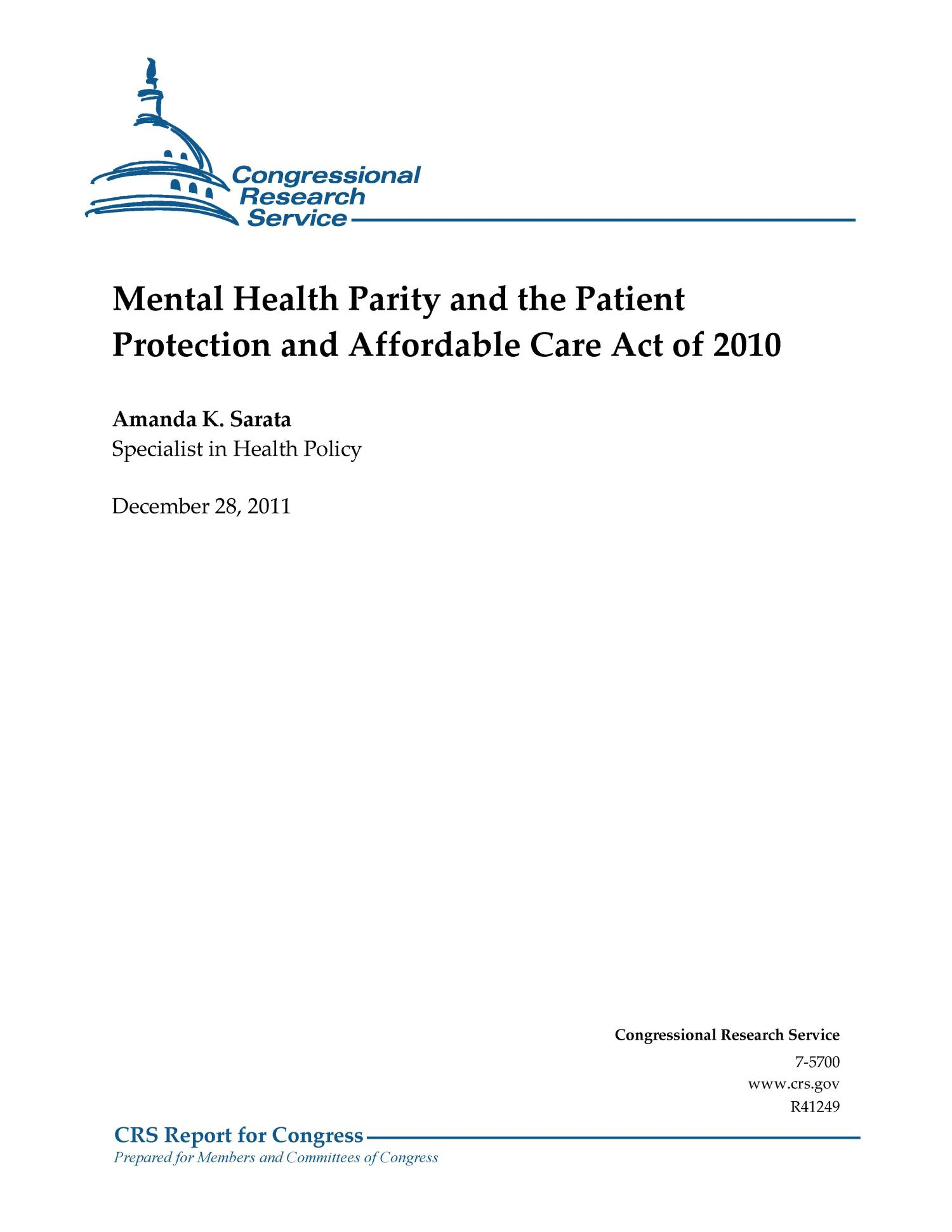 Mental Health Parity and the Patient Protection and ...