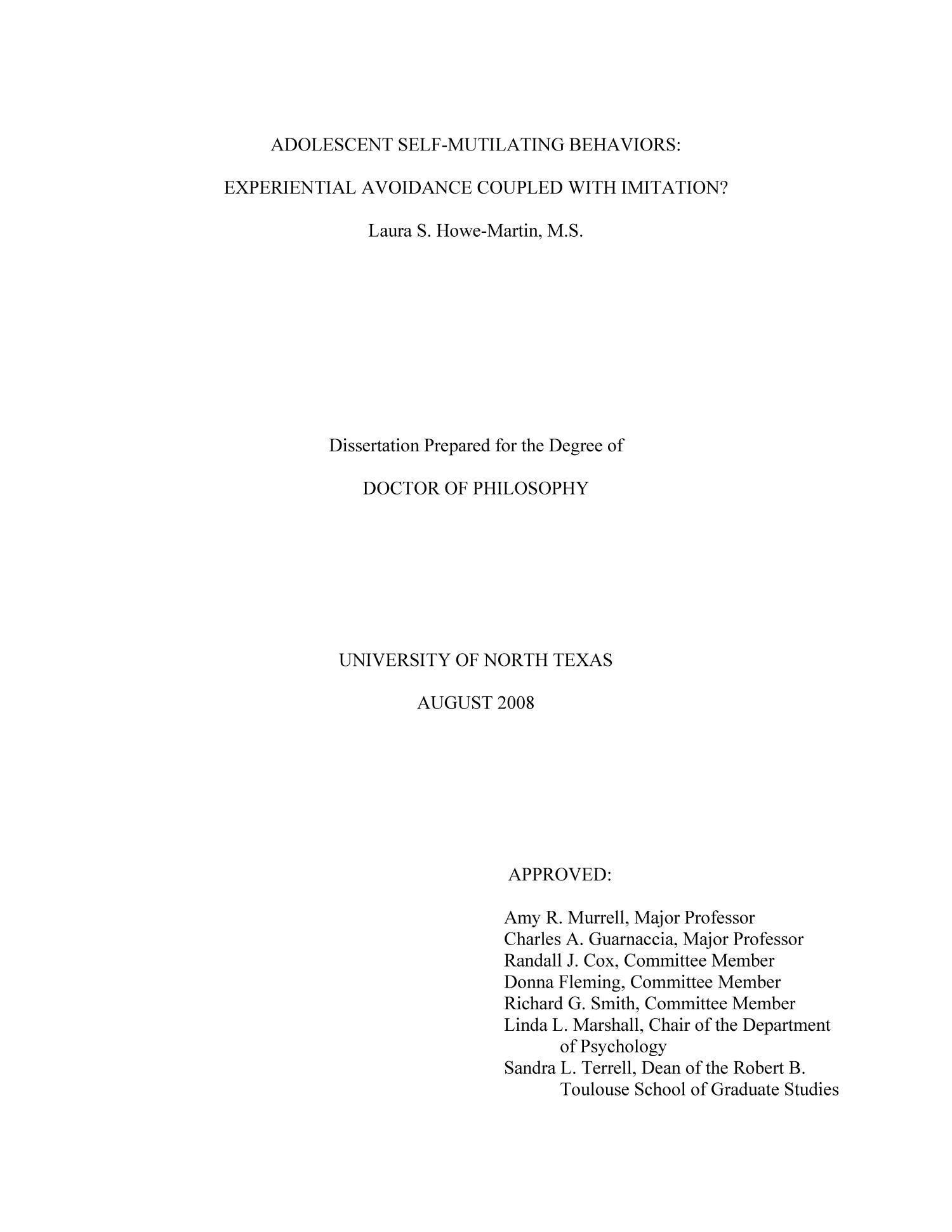 Dissertation avoidance